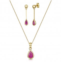 9ct Yellow Gold 18'' Inch Chain Pendant & Drop Ruby Earrings Set