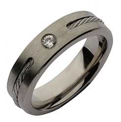 6mm Titanium Twist Cable CZ Wedding Ring