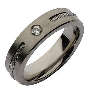 6mm Titanium Twist Cable CZ Wedding Ring