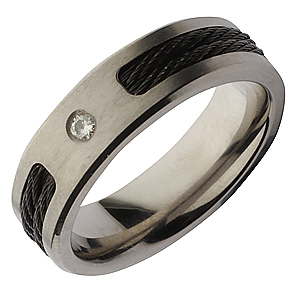 7mm Titanium Black Rope Diamond Wedding Ring Band