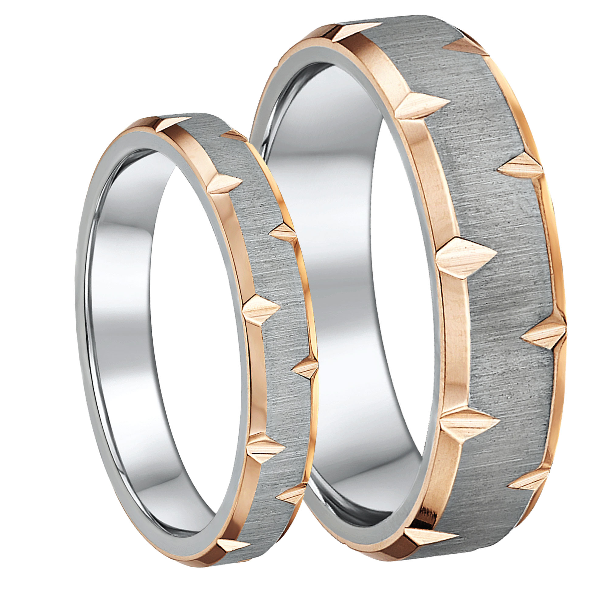 IP Rose Gold Edged Titanium Wedding Rings 4&6mm His & Hers Couples Rings