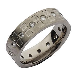 7mm Titanium Channel Set 15 CZ Eternity Style Ring
