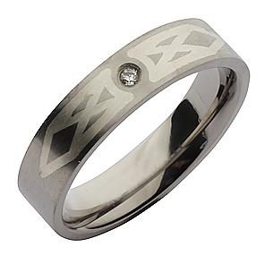 6mm Titanium Designed CZ Wedding Ring