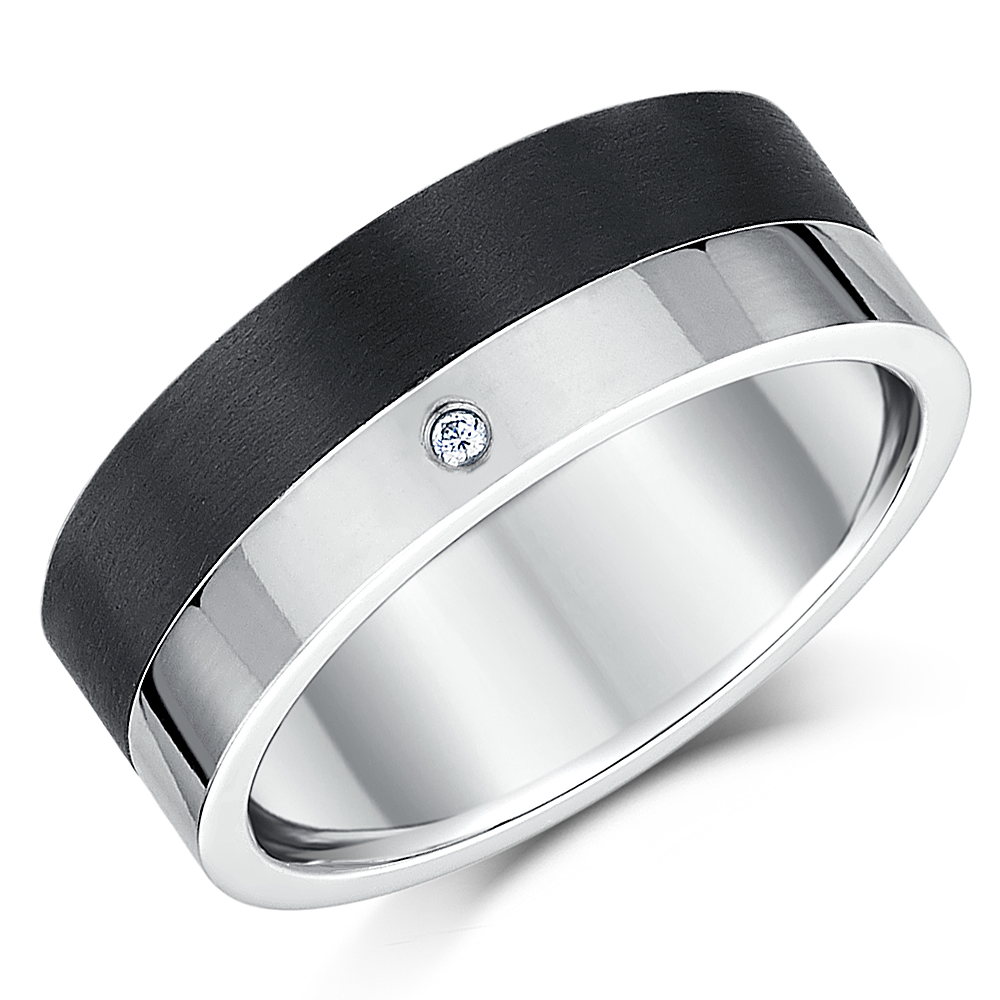 Black Carbon Fiber & Titanium Wedding Ring 8mm
