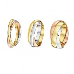 9ct Multi-Tone 3 Colour Gold Russian Wedding Ring
