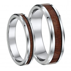 His & Hers Titanium Wedding Ring Band Set 4&6mm with wood grained inlay