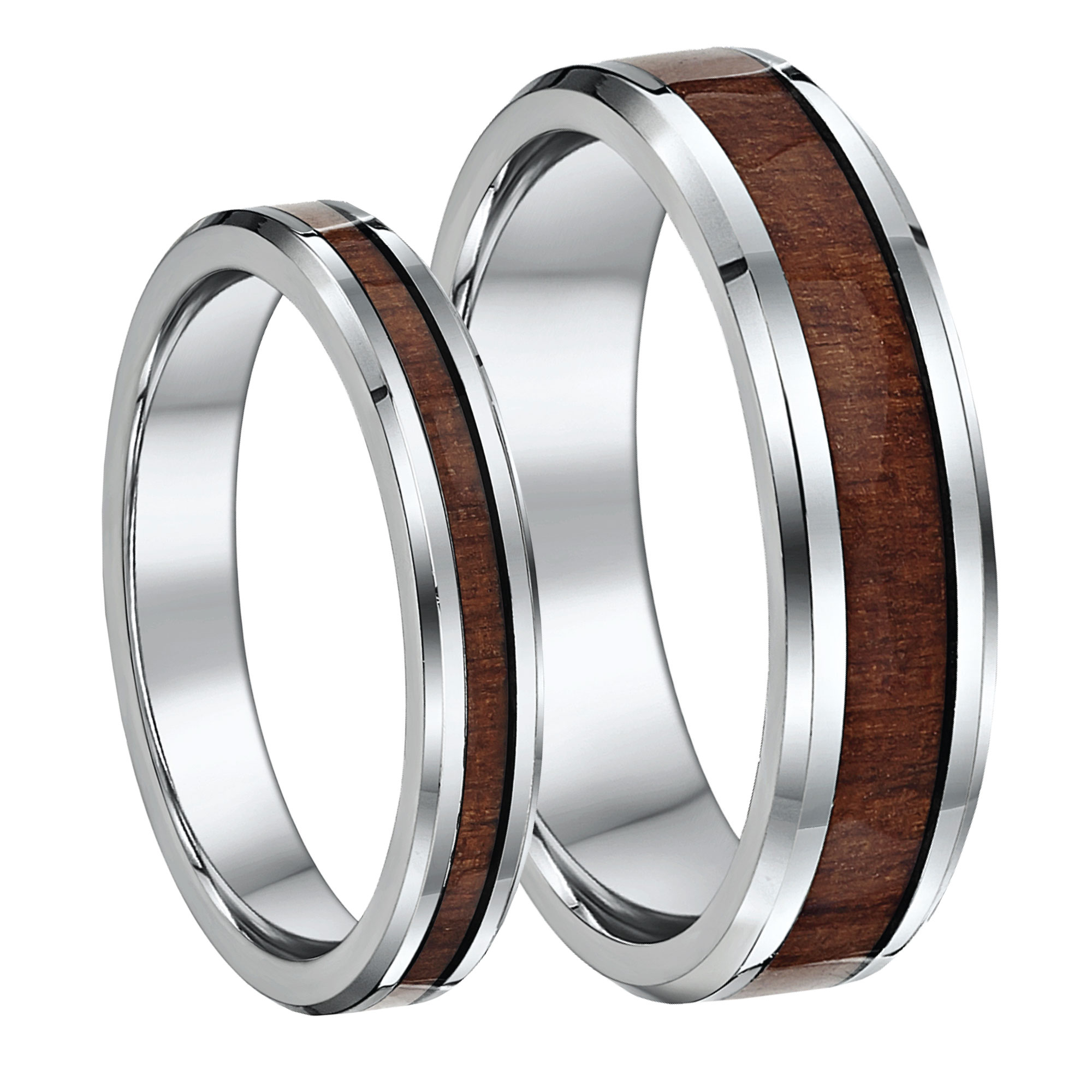His & Hers Titanium Wedding Ring Band Set 4&6mm With Wood