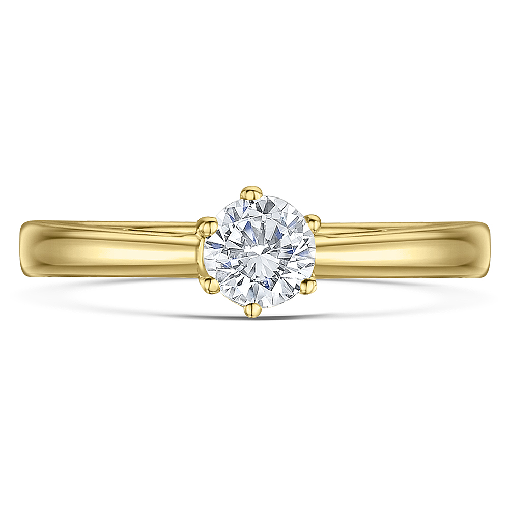 9ct Yellow Gold 1/3 Carat Six Claw Fine Diamond Solitaire