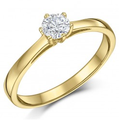 9ct Yellow Gold 1/3 Carat Six Claw Fine Diamond Solitaire Engagement Ring