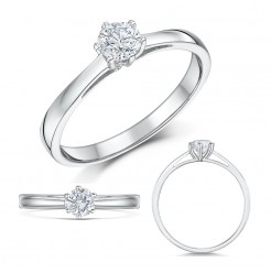 9ct White Gold Six Claw Third Carat Diamond Solitaire Engagement Ring