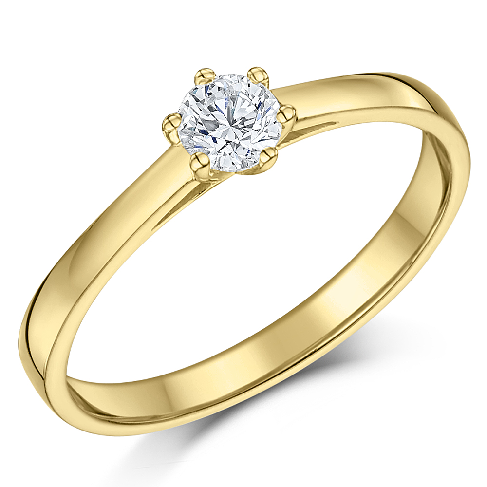 9ct Yellow Gold Quarter Carat Six Claw Diamond Solitaire Engagement Ring