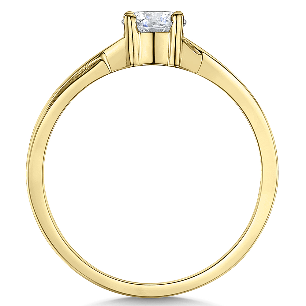 9ct Yellow Gold Third Carat Diamond Solitaire Crossover Engagement Ring