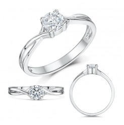 9ct White Gold Half Carat Diamond Solitaire Twist Engagement Ring