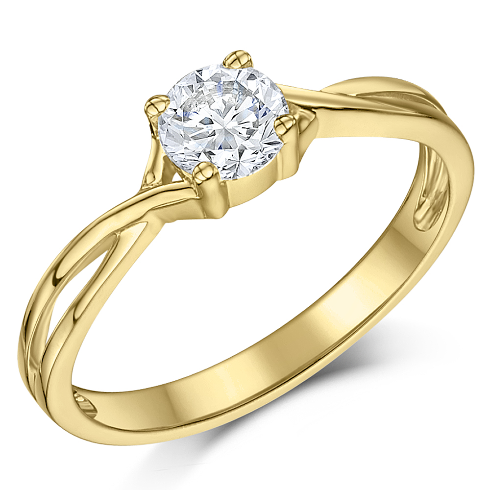 9ct Yellow Gold Half Carat Diamond Solitaire Twist Engagement Ring