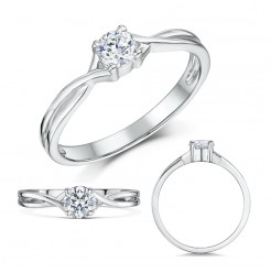 9ct White Gold Third Carat Diamond Solitaire Crossover Engagement Ring