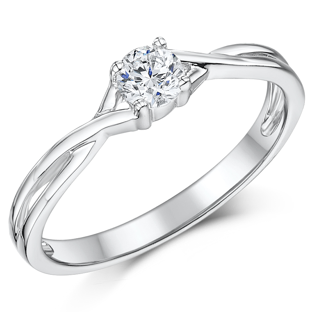 9ct White Gold Quarter Carat Diamond Twist Solitaire