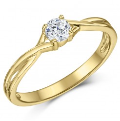 9ct Yellow Gold Quarter Carat Diamond Twist Solitaire Engagement Ring