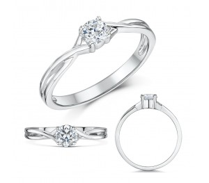 9ct White Gold Quarter Carat Diamond Twist Solitaire Engagement Ring