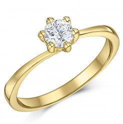9ct Yellow Gold Half Carat Six Claw Fine Diamond Solitaire Engagement Ring