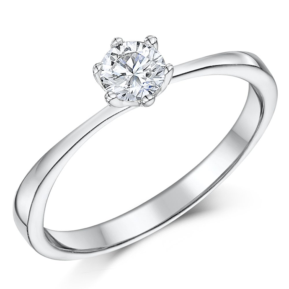 9ct White Gold Quarter Carat Six Claw Diamond Solitaire Engagement Ring