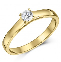 9ct Yellow Gold Quarter Carat Diamond Solitaire Engagement Ring