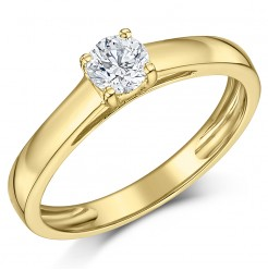 9ct Yellow Gold Third Carat Diamond Solitaire Engagement Ring