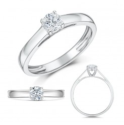 9ct White Gold Third Carat Diamond Solitaire Engagement Ring