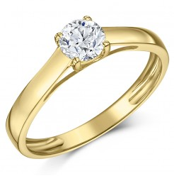 9ct Yellow Gold Half Carat Diamond Solitaire Engagement Ring