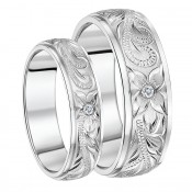 His & Hers Titanium Rings Hand Engraved CZ Couples Wedding Rings 6&8mm
