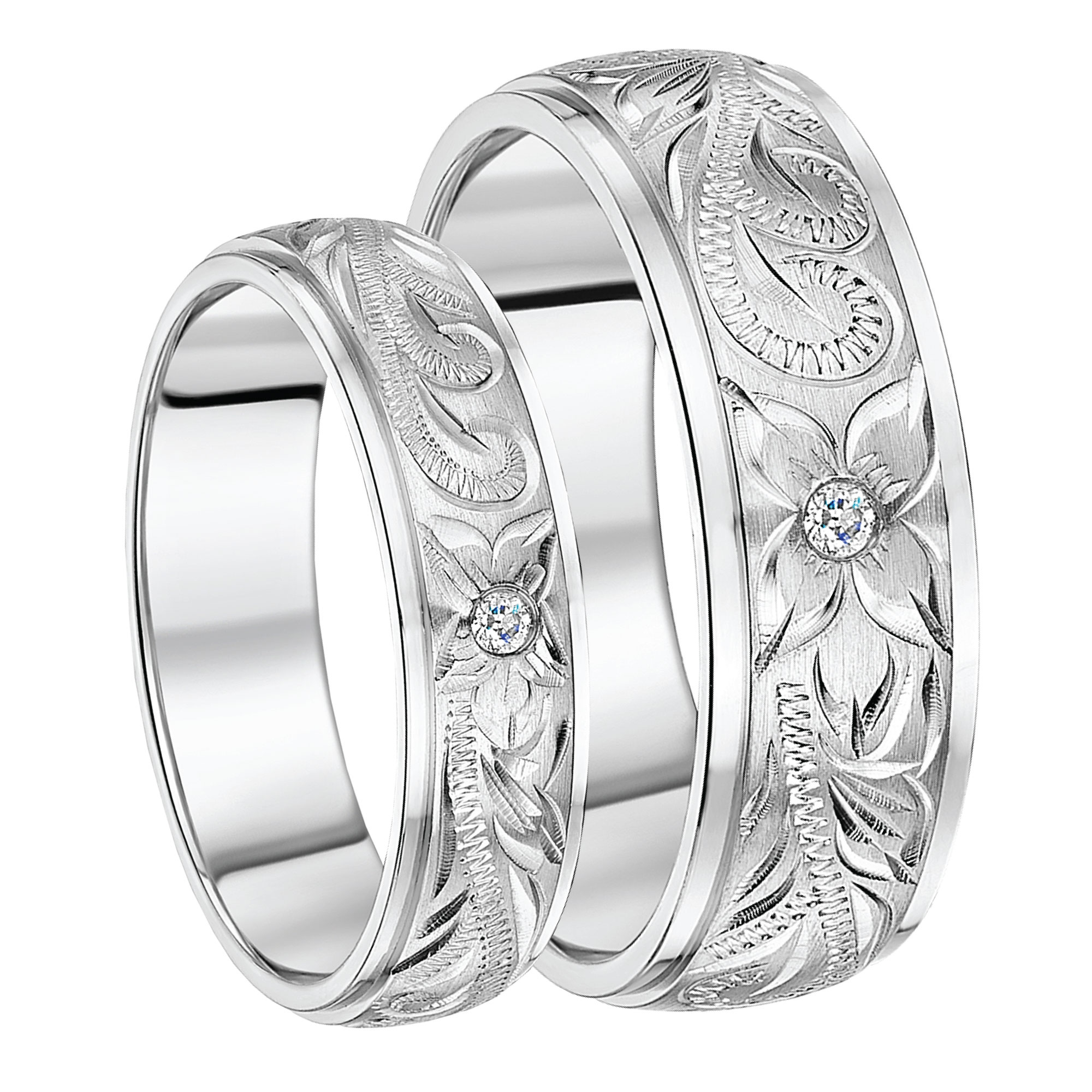 His & Hers Titanium Hand Engraved CZ Stone Wedding Rings 6&8mm