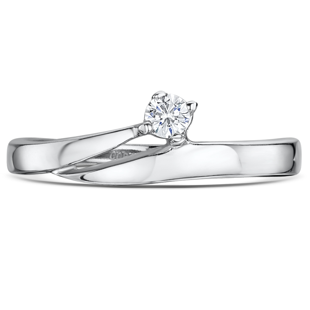 Cobalt Illusion Stone Crossover Engagement Wedding Ring