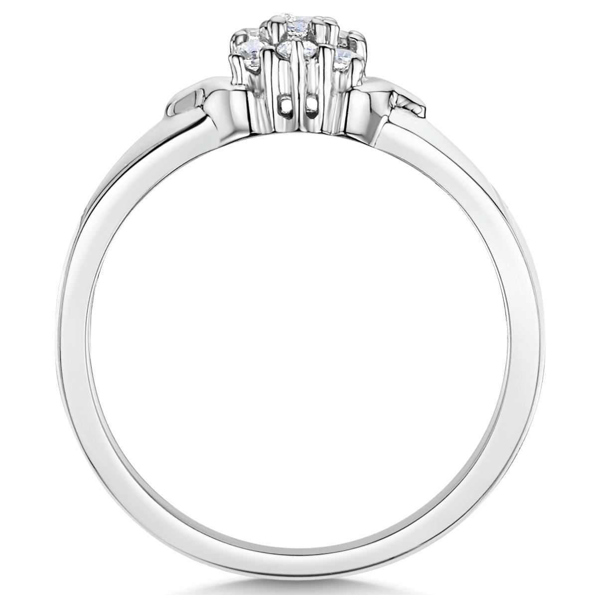 Cobalt 10 stone cluster engagement wedding ring