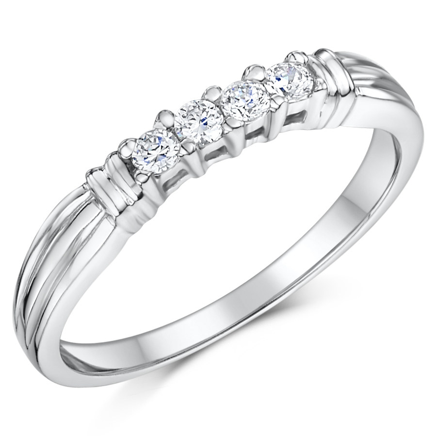 Cobalt Engagement Eternity 4 Stone 3mm Ring