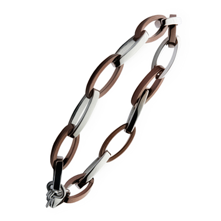 Brown & Silver Stainless Steel Chain Link Designer Bracelet