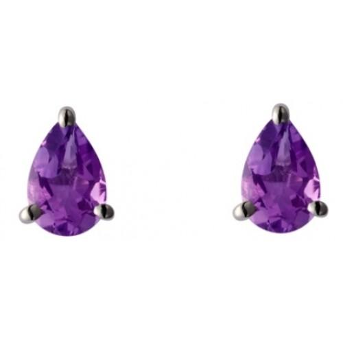 Silver Amethyst Stud Earrings Pearshape Stud Earrings 6x4mm Earrings