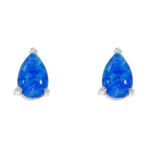 Blue Opal Earrings Silver Opal Earrings 6x4mm Pearshape Stud Earrings