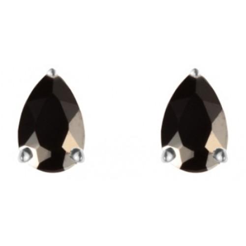 Black Earrings Sterling Silver Black CZ Pearshape Stud Earrings 6x4mm