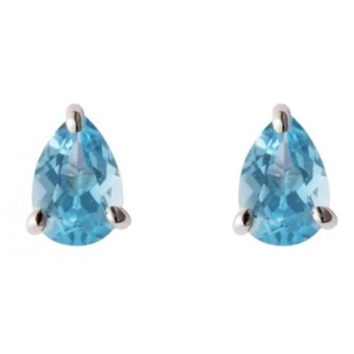 Blue Topaz Earrings Silver Stud Earrings 6x4mm Pearshape Blue Earrings