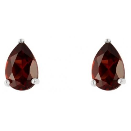 Silver Stud Earrings Garnet Pearshape Claw Set 6x4mm Stud Earrings