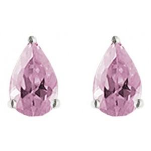 Pearshape Earrings Pink CZ Sterling Silver 925 Earring 6x4mm