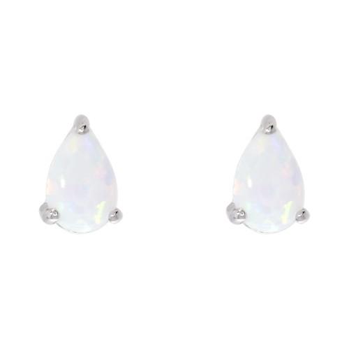 White Opal Earring Silver Stud White Created Opal Pearshape Earrings 6x4mm