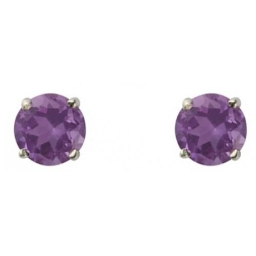 Silver Amethyst Earrings 5mm Sterling Silver 925 Claw Stud Earrings