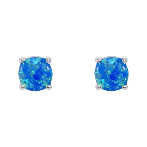 Sterling Silver Blue Opal Earrings Created Opal 5mm Earrings Claw Set