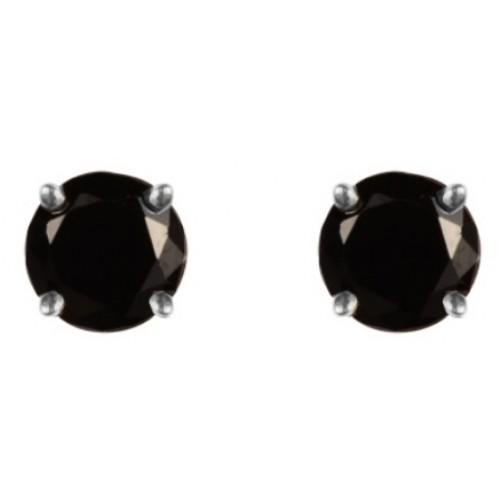 Sterling Silver 925 Black Earrings 5mm Claw Set Black CZ Earrings