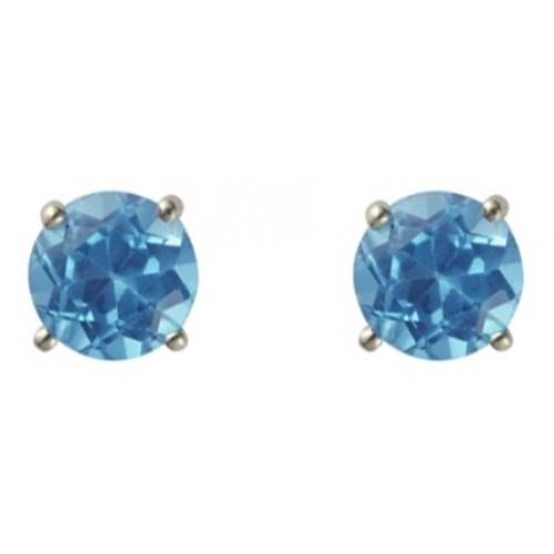 Silver Blue Topaz Earrings 5mm Sterling Silver 925 Claw Stud Earrings