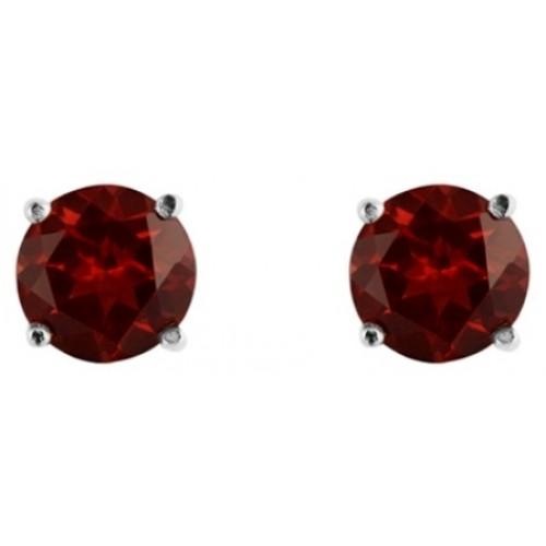 Silver Garnet Earrings 5mm Sterling Silver 925 Claw Stud Earrings
