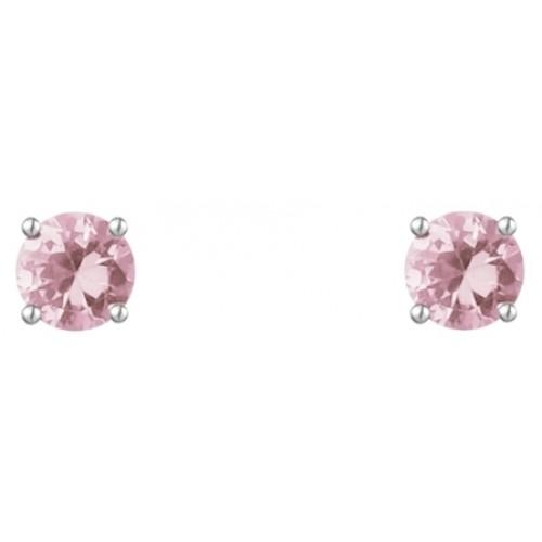 Sterling Silver Pink Stud Earring 5mm Pink CZ Claw Earrings