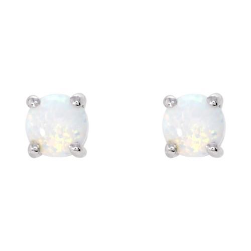 Silver White Created Opal Earrings 5mm Sterling Silver 925 Claw Stud Earrin