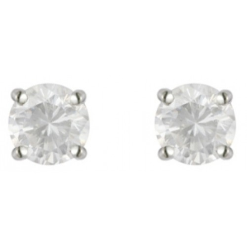 Silver White CZ Earrings 5mm Sterling Silver 925 Claw Stud Earrings