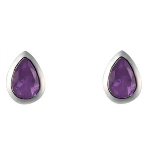 Amethyst Earrings Sterling Silver 925 High Polished Pearshape Stud Earrings